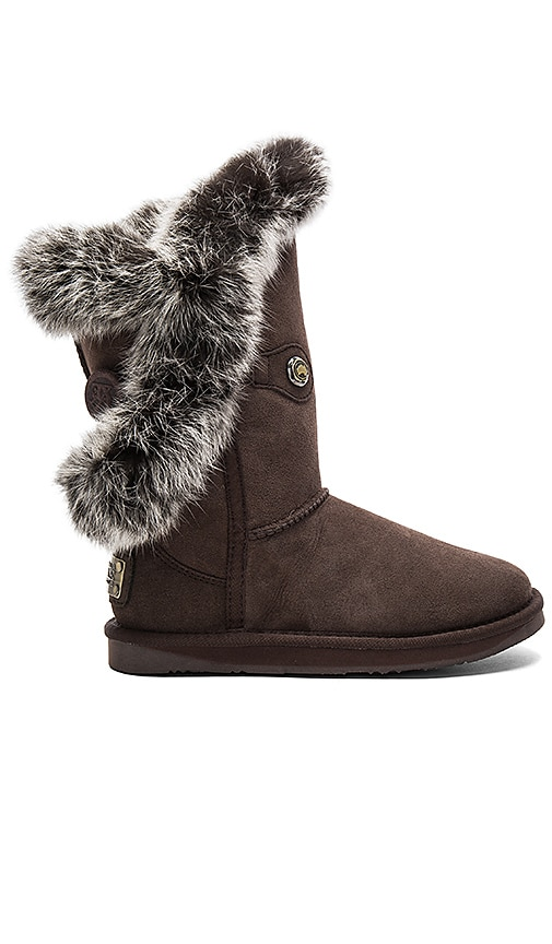 Australia Luxe Collective Nordic Angel Short Rabbit Fur and Shearling Boot in Brown