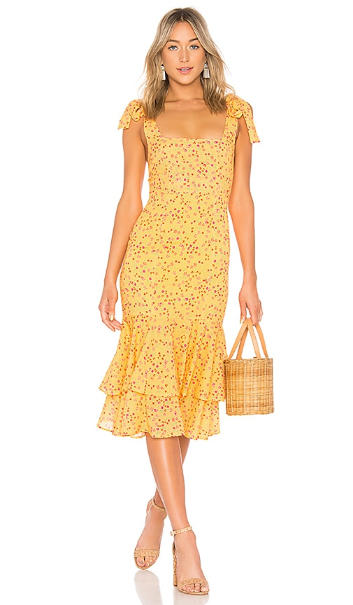 09e89c33e1cb6 Lovers + Friends Day Keeper Midi Dress in Goldenrod Ditsy | REVOLVE