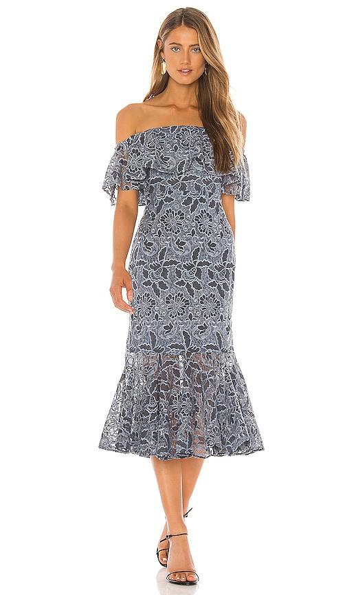 Lovers + Friends Annora Midi Dress in Slate Blue   REVOLVE