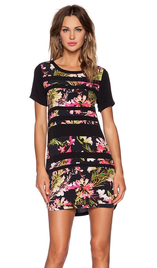 Lovers + Friends Emily Dress in Black & Tropical Bloom
