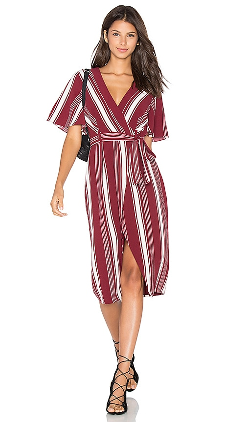 Lovers + Friends Fremont Wrap Dress in Burgundy