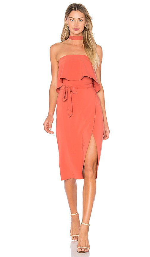 Lovers + Friends Max Midi Dress in Burnt Orange