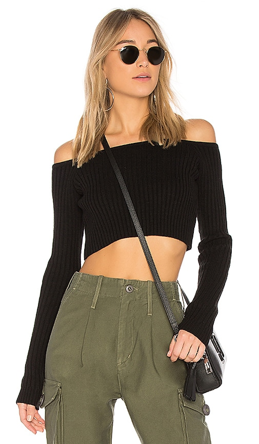 Lovers + Friends Bells Crop Sweater in Black