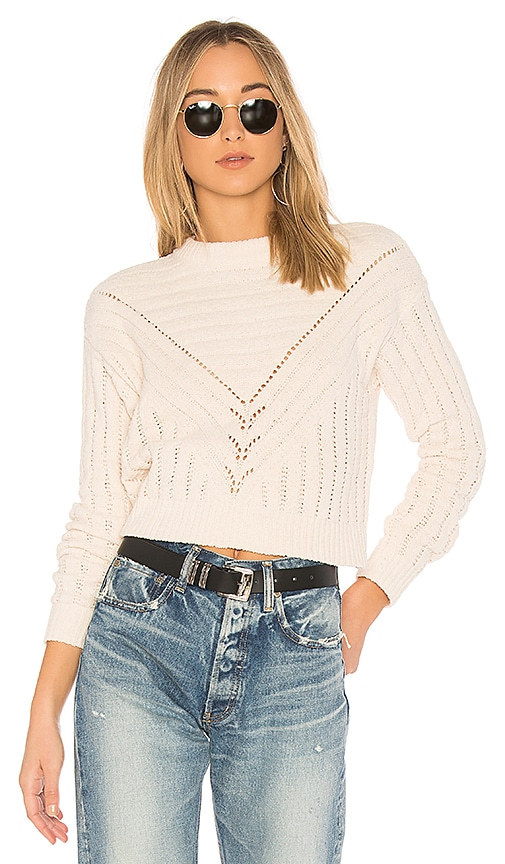 Lovers + Friends Moon Crop Sweater in White