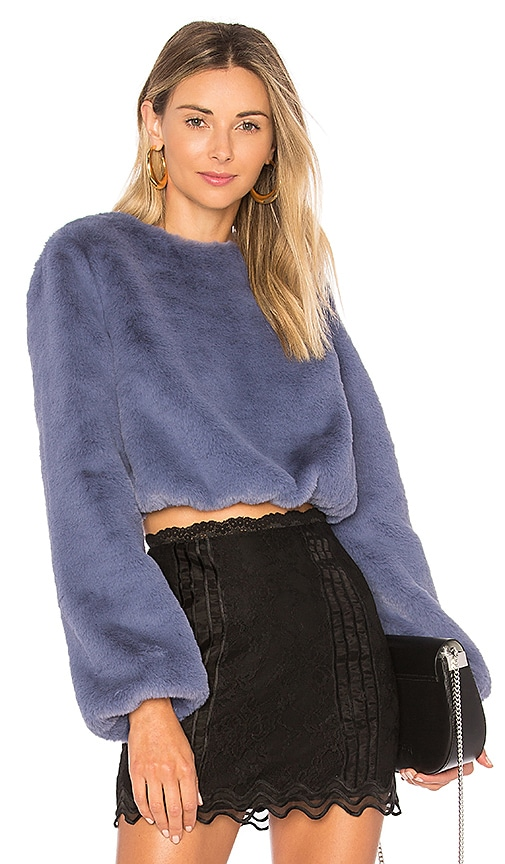 Lovers + Friends x REVOLVE Teagan Faux Fur Sweater in Blue