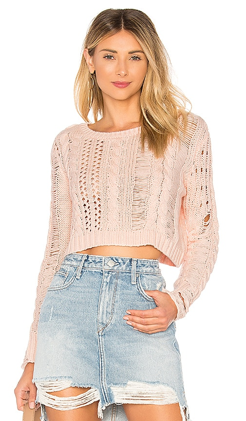 Lovers + Friends Distress Me Out Sweater in Pink