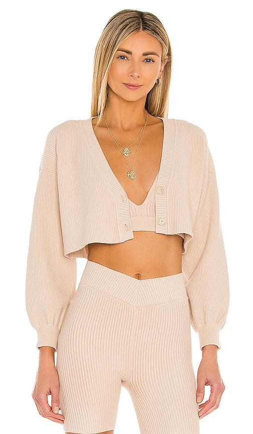 Lovers & Friends Cropped Ribbed Cardigan In Nude