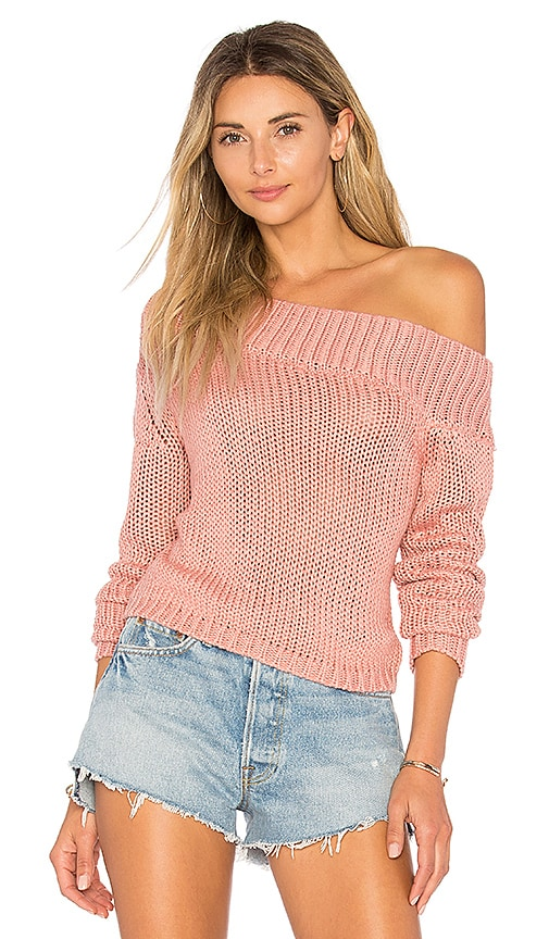 Lovers + Friends Sandy Beach Crop Sweater in Rose