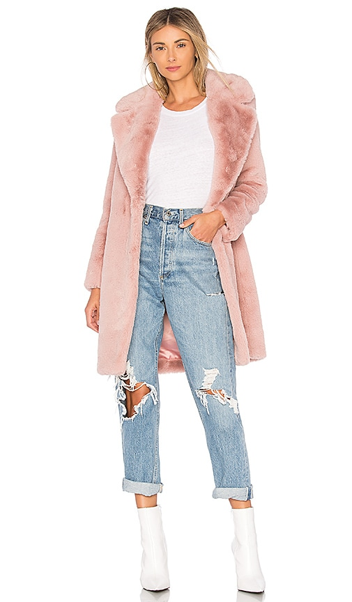 Lovers + Friends Romy Faux Fur Coat in Pink