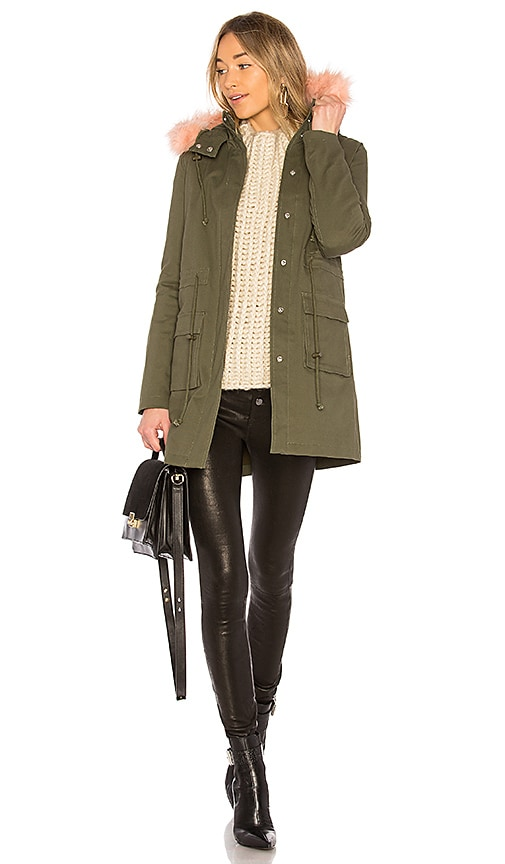 Lovers + Friends Cora Parka Jacket With Faux Fur in Olive