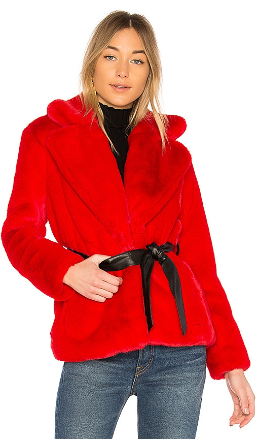 Lovers + Friends Valentine Faux Fur Coat in Red