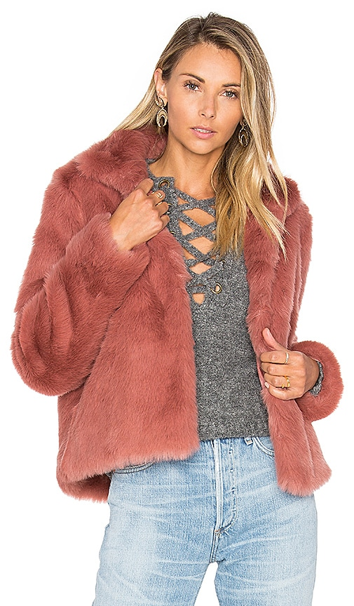Lovers + Friends x REVOLVE Mia Faux Fur Jacket in Mauve