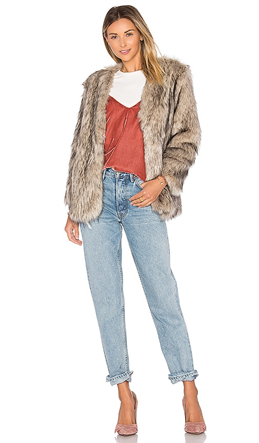 Lovers + Friends Adora Faux Fur Jacket in Gray