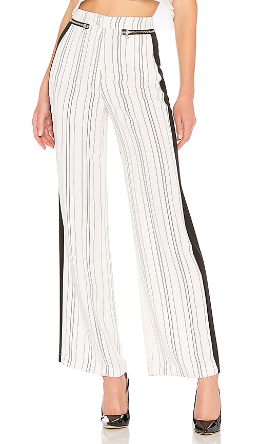 Lovers + Friends London Striped Pant in Black & White