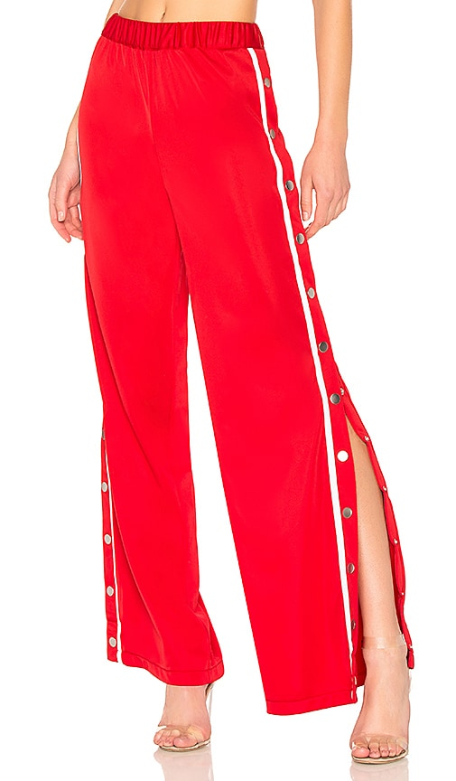 Lovers + Friends Athletic Snap Track Pant in Red