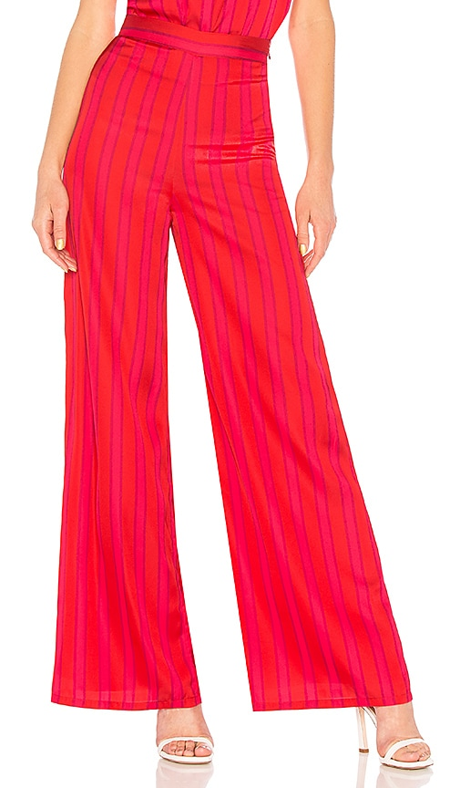 Lovers + Friends Zoey Wide Leg Pant in Red