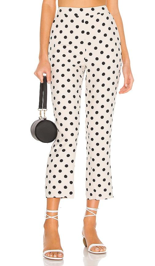 Lovers + Friends Hutchin Pants in Vanilla White w Black Polka Dots