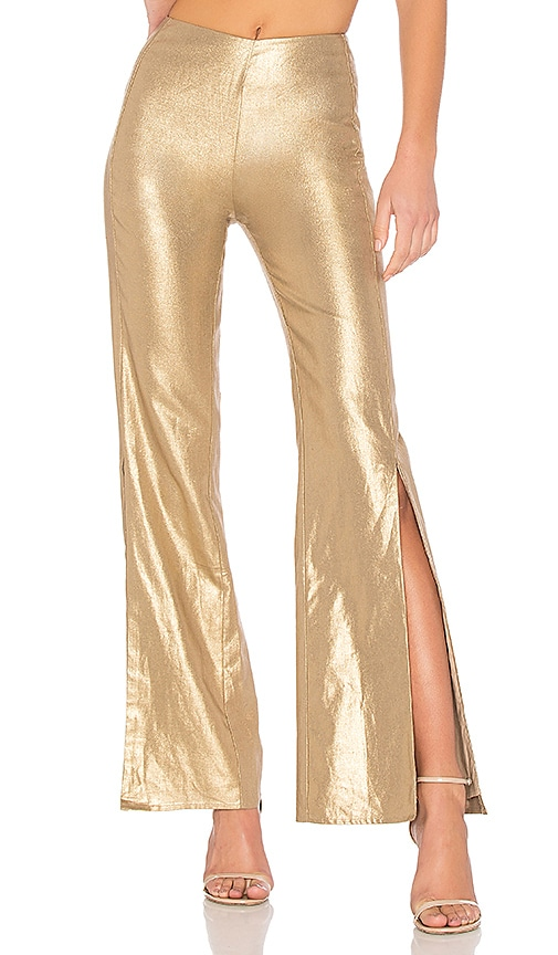Lovers + Friends Slash Pants in Metallic Gold
