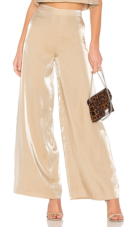 Lovers + Friends Zoey Wide Leg Pants in Gold