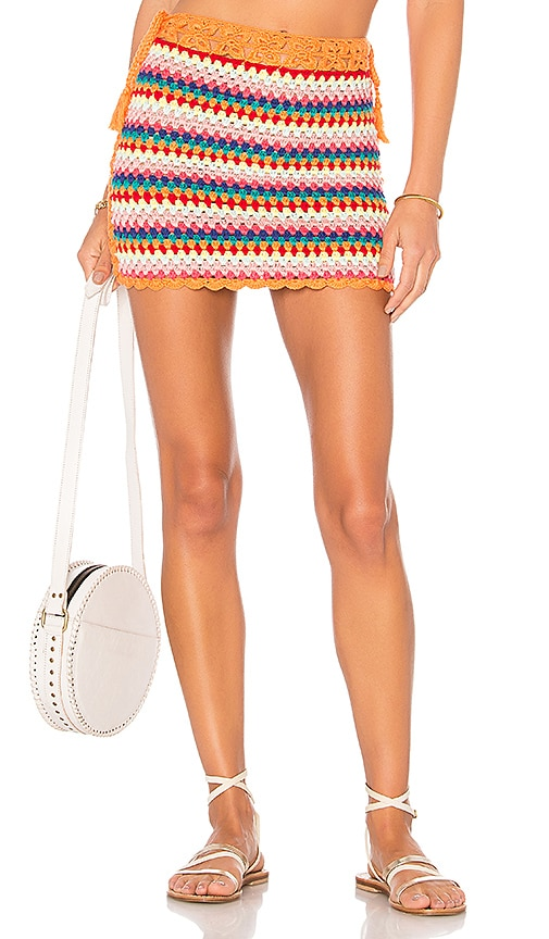 Lovers + Friends Over The Rainbow Skirt in Orange