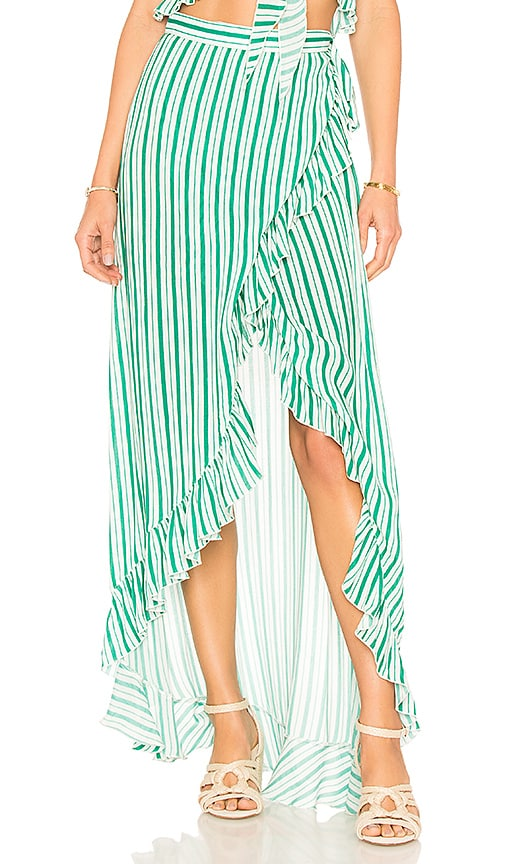 Lovers + Friends Waves For Days Wrap Skirt in Green