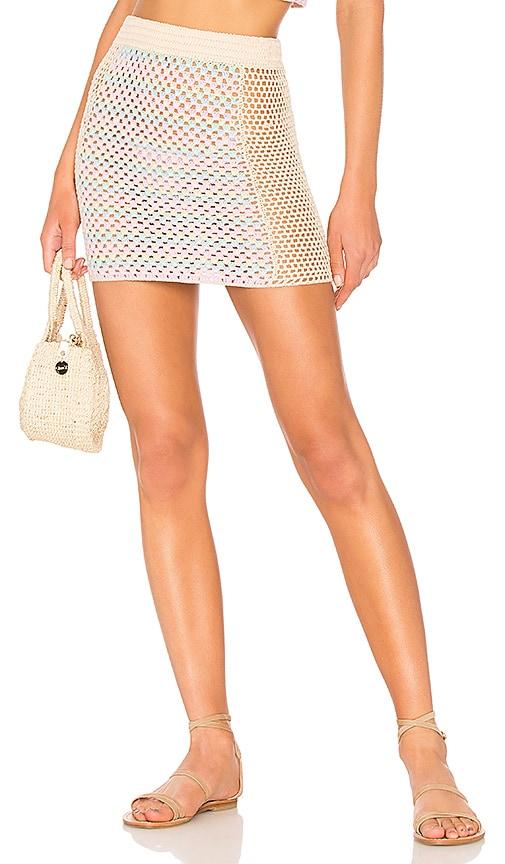 Lovers + Friends Pastel Rainbow Skirt in Pink