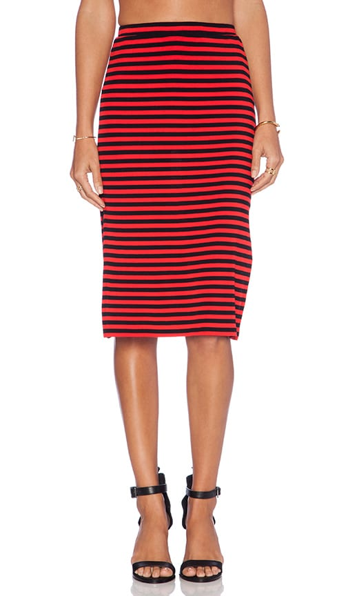 friends iggy slit midi skirt in stripe revolve
