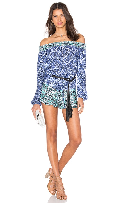 Lovers + Friends Mediterranean Romper in Blue