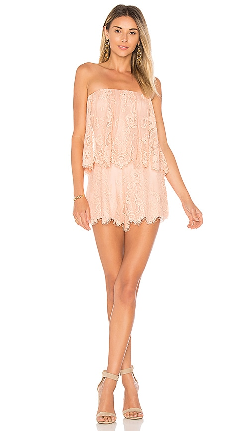 Lovers + Friends Kristine Romper in Peach