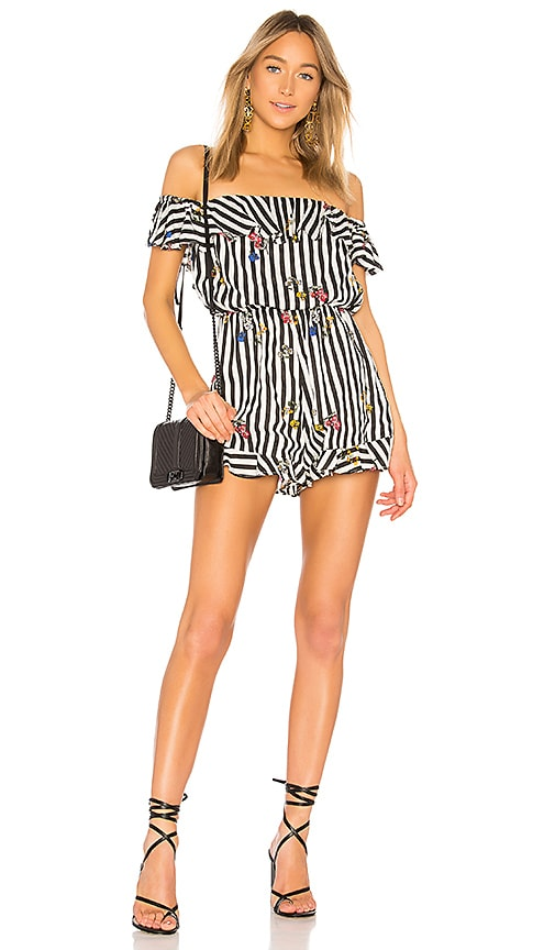Lovers + Friends Quincy Romper in Black & White