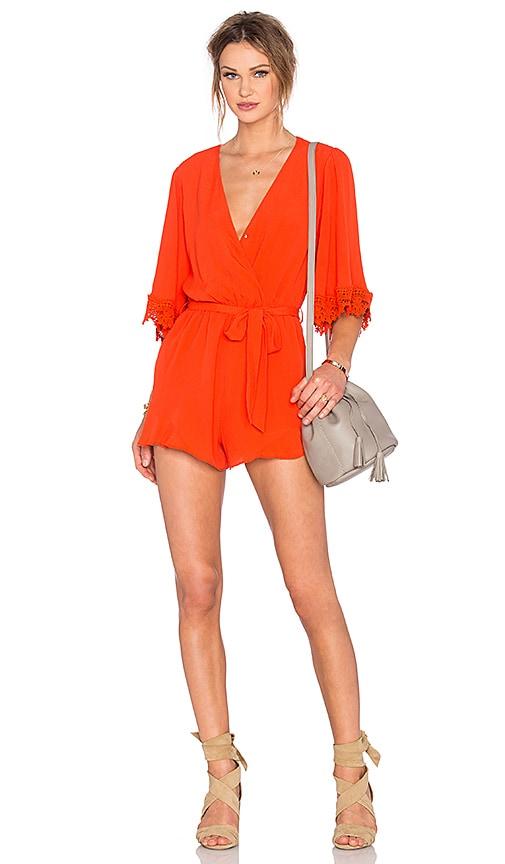Lovers + Friends Reese Romper in Orange