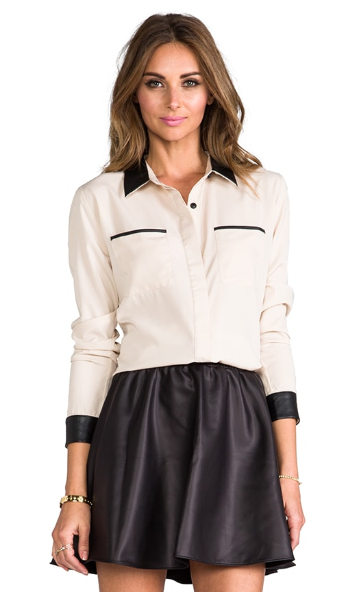 Cooper Button Down w. Leather Contrast