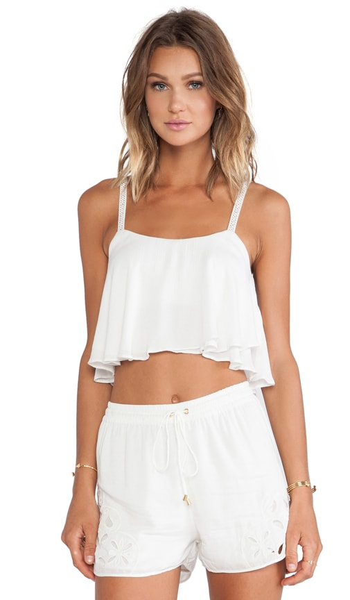 Lovers + Friends Long Weekend Crop Top in Ivory