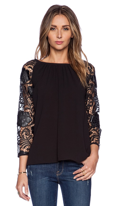 Lovers + Friends Yesterday Raglan Top in Black