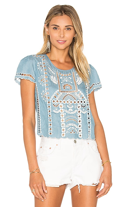 Lovers + Friends Weekender Ruffled Top in Blue