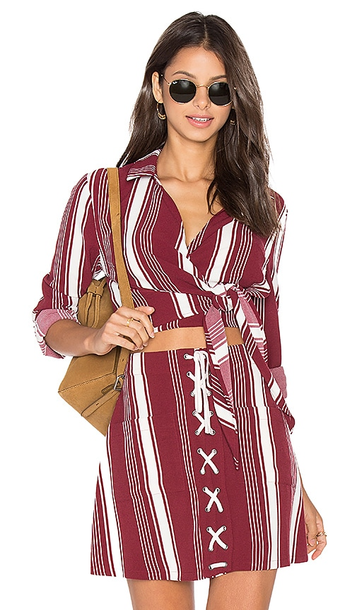 Lovers + Friends Valley Top in Burgundy