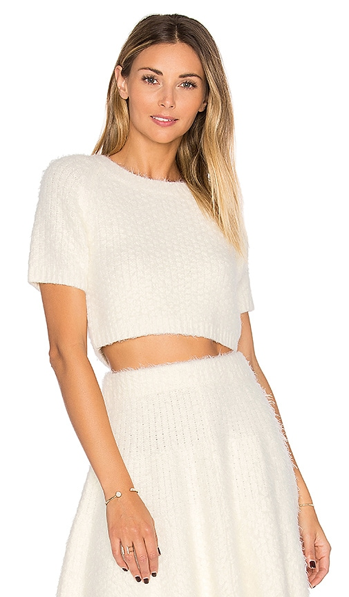 Lovers + Friends Be Flirty Crop Top in Ivory