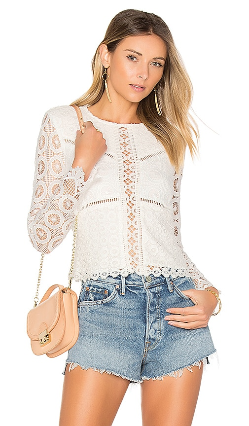 Lovers + Friends Lotus Top in White