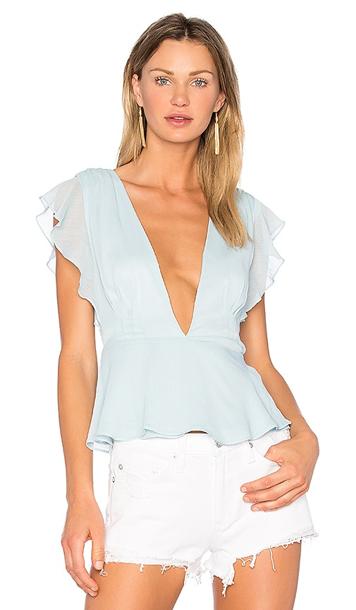 Lovers + Friends Butterfly Top in Baby Blue