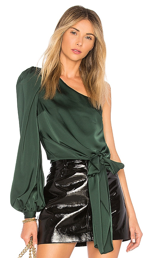 Lovers + Friends Kendall Blouse in Dark Green