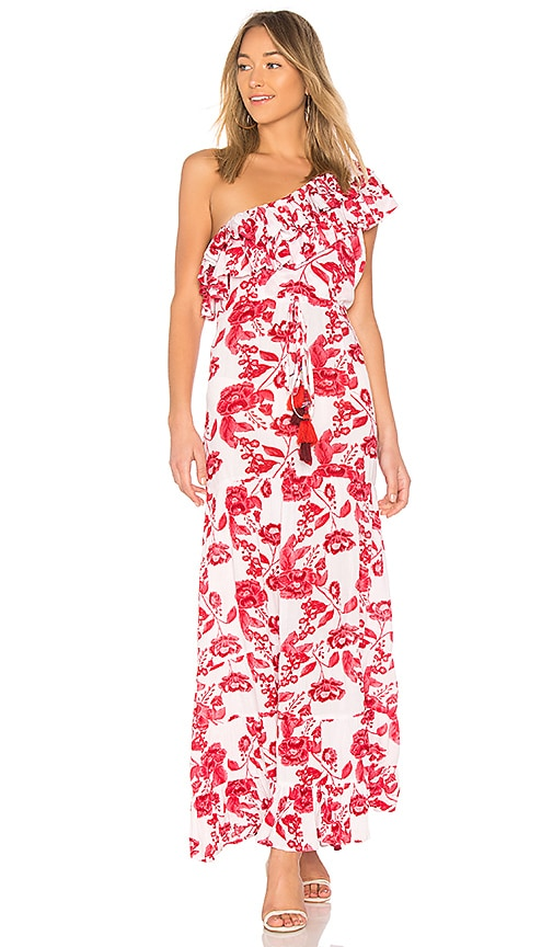 LOVERS+FRIENDS Amity One-Shoulder Floral-Print Maxi Dress in Red
