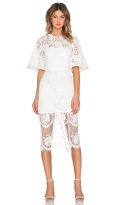 Lover Halo Lace Midi Dress in Snow