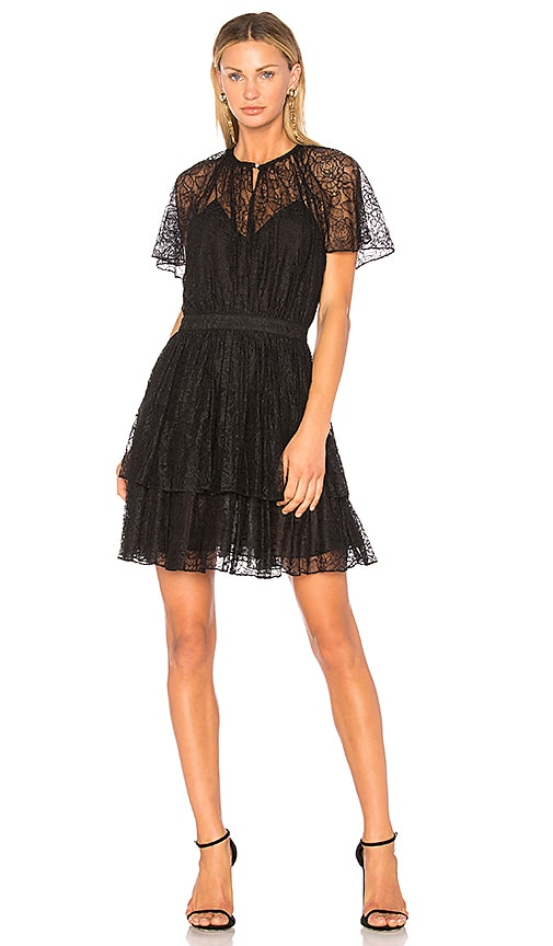 Lover Plume Lace Mini Dress in Black