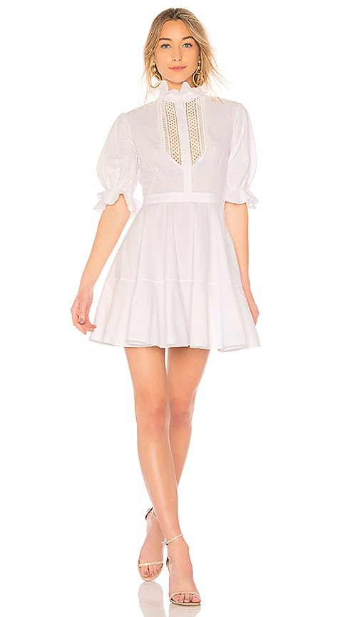 Lover Abbey Trim Dress in White