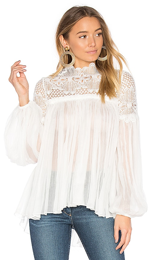 Lover Camelia Silk Blouse in White