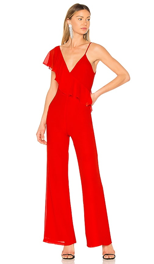 LPA Asymmetric Jumpsuit in Red
