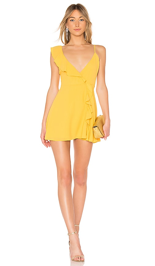 LPA Asymmetrical Ruffle Wrap Dress in Yellow