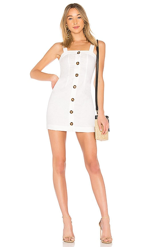 LPA Button Up Tank Dress in White