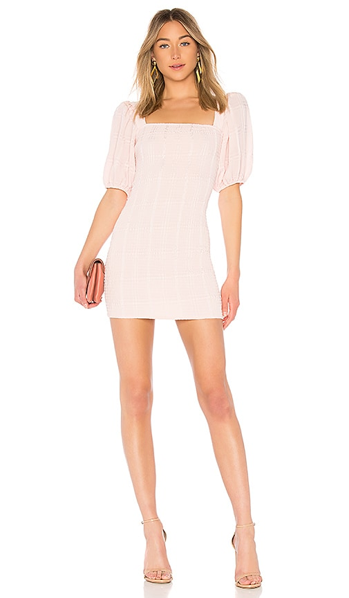 LPA Smocked Dress With Puff Sleeve in Blush
