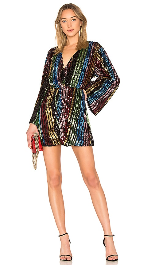 LPA Twist Front Dress With Kimono Sleeve in Black